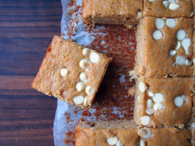 Pumpkin Blondies with White Chocolate Chips
