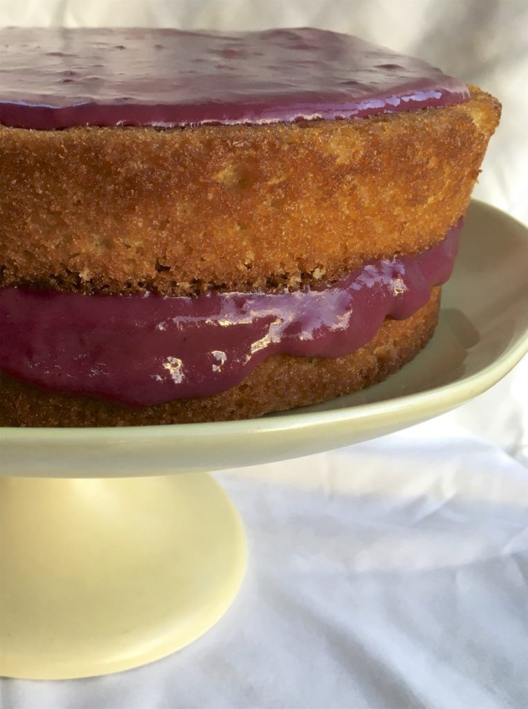 Meyer Lemon Cake with Blackberry Pudding