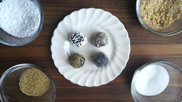brigadeiros and toppings
