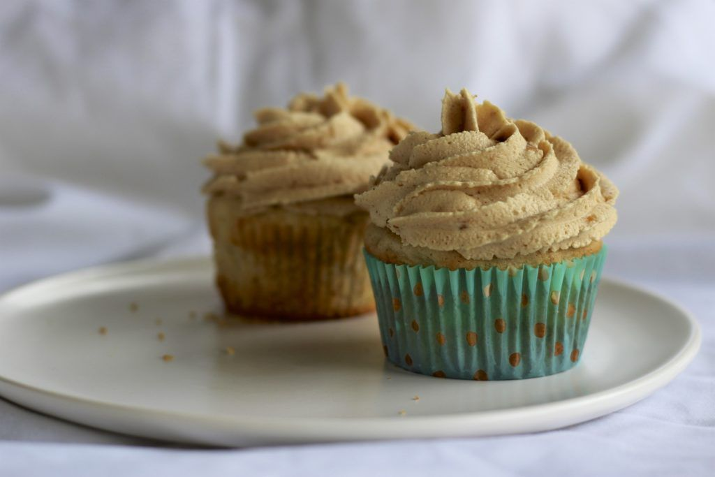 Apple Cupcakes with Peanut Butter Cinnamon Frosting
