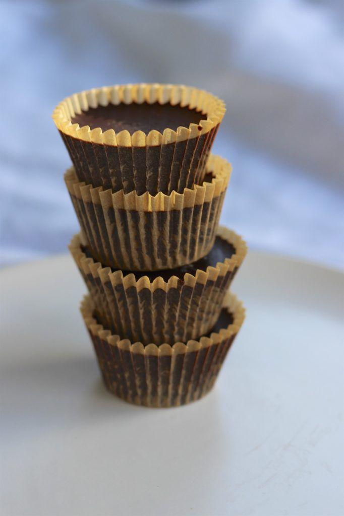 espresso cocoa nib peanut butter cups stacked