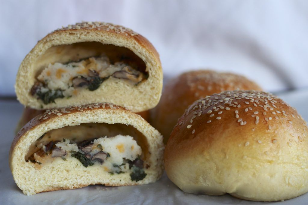 stuffed rolls with potato kale and mushroom