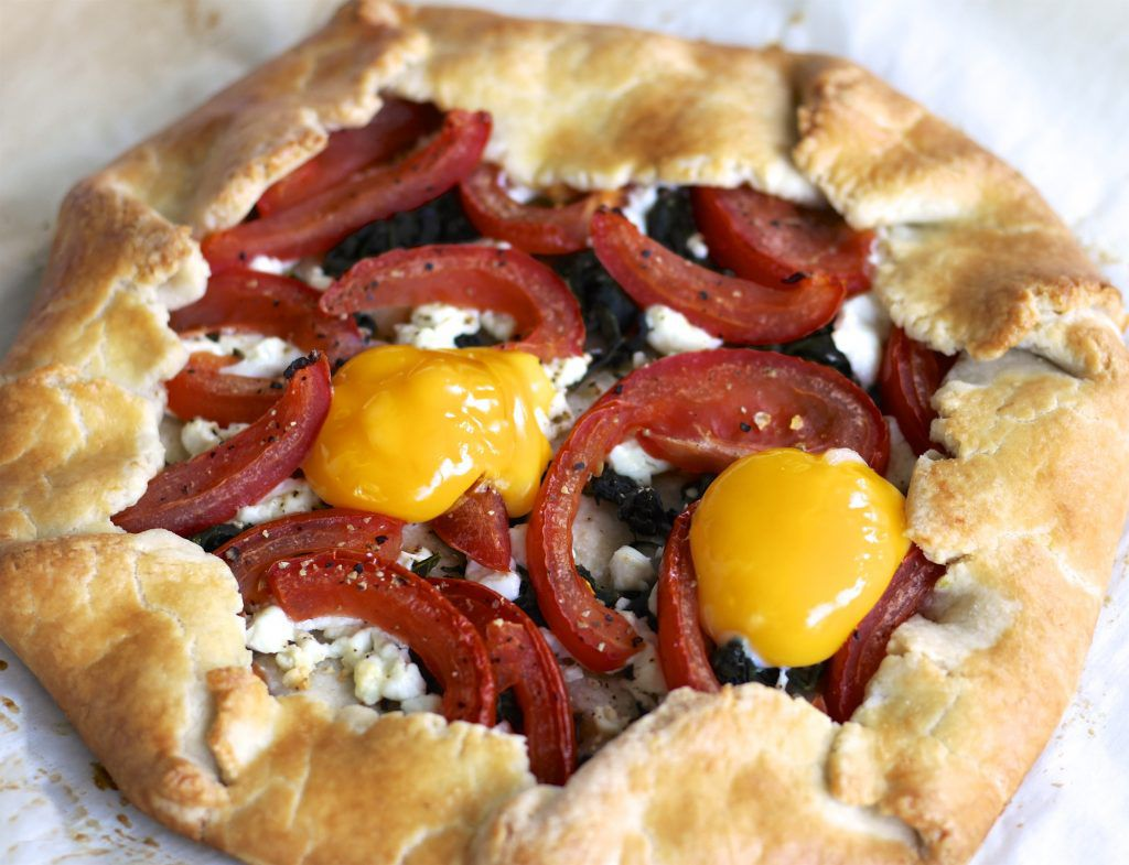 Breakfast Galette with Spinach, Tomatoes, and Goat Cheese