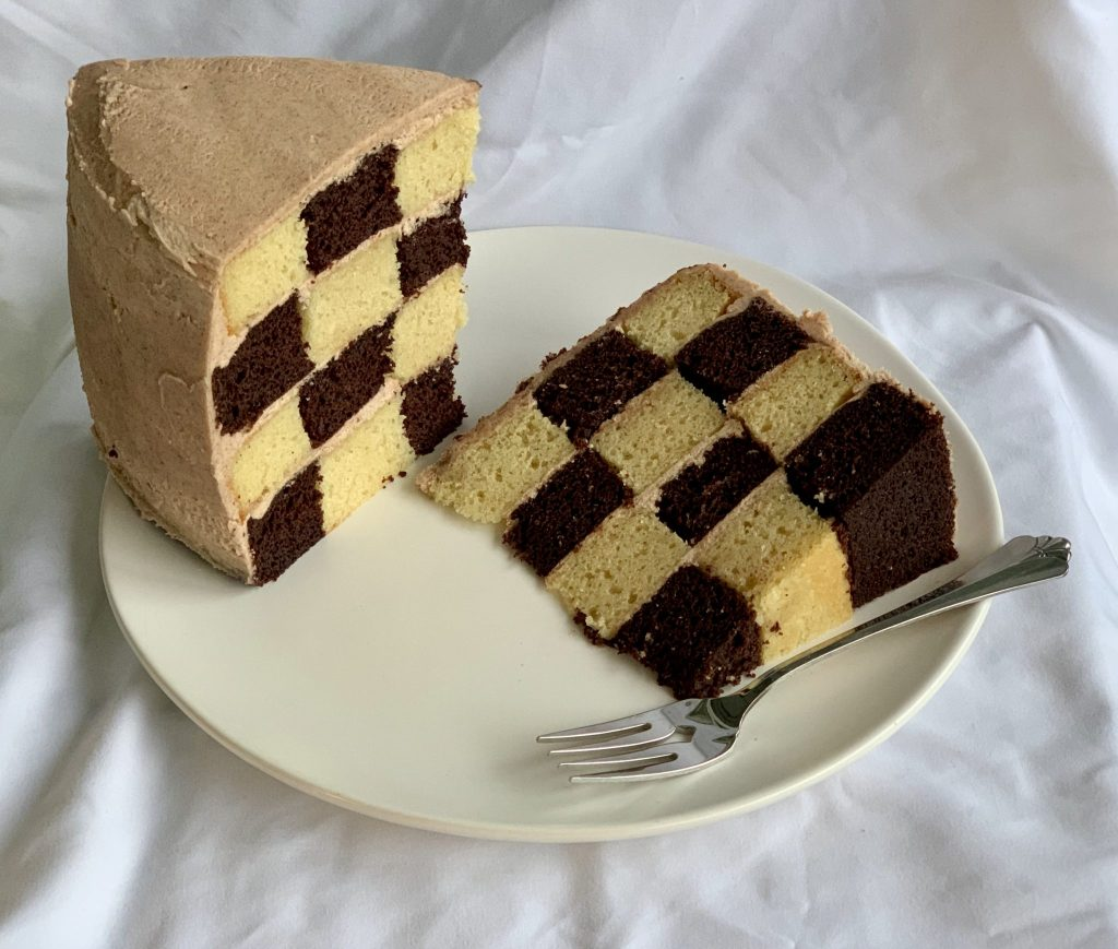 Cinnamon Chocolate Checkerboard Cake